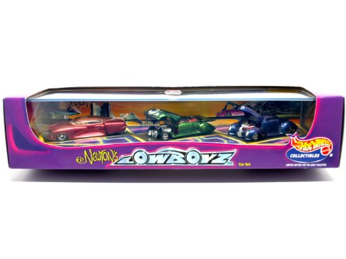 Hot Wheels ED NEWTON'S LOWBOYZ * TRICLOPS / RAREFLOW / MERCOHAULIC * Limited Edition 3 Car Die-Cast Deluxe Box Set & Showcase
