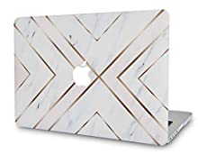"""LuvCase Laptop Case for Old MacBook Pro 13"""" Retina Display (2015/2014/2013/2012 Release) A1502/A1425 Rubberized Plastic Hard Shell Cover (White Marble Gold Stripes)"""