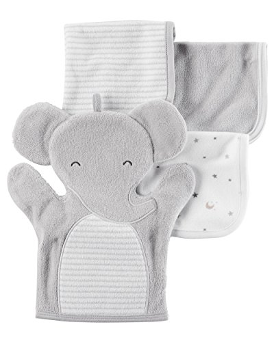 Carter's 4-Pack Elephant Washcloth Set Gray None