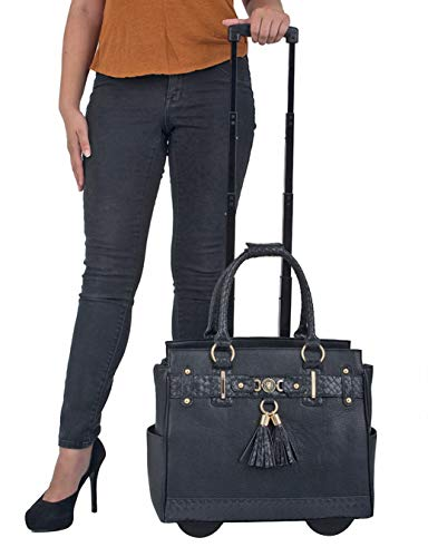 JKM and Company The Berkeley Black Compatible with Computer iPad, Laptop Tablet Rolling Tote Bag Briefcase Carryall Bag ()