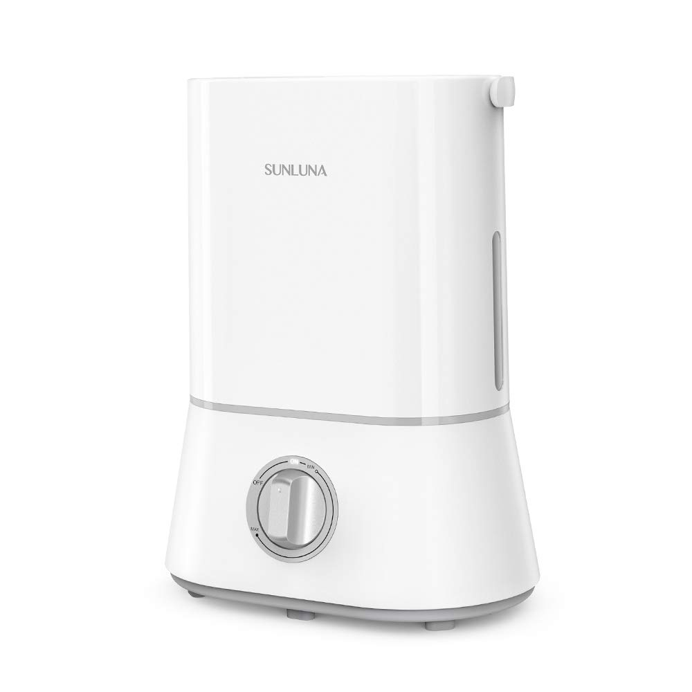 SUNLUNA SL-AH001, 4L Cool Mist Ultrasonic Quiet Humidifier for Baby, Upgraded Nano-Coating, 16-50 Hours, Easy Clean, 360 Nozzle, Auto ShutOff, White