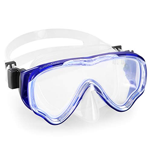 - OMGear Diving Mask Snorkeling Gear Kids Adult Snorkel Mask Dive Goggles Silicone Swim Glasses Scuba Free Diving Spearfishing Anti-Leak Anti-Fog Neoprene Strap Cover Impact Resistance(Kid/Blue)