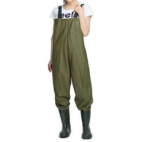Women chest waders fishing bootfoot waders with boots pvc for Fishing waders amazon