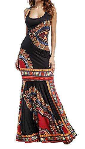 Color uninukoo Africano Unko Print Sundress Negro Cóctel Dashiki Bodycon Medio Haokan Maxi Club tamaño Femenina Ropa 7qx5UwWfg