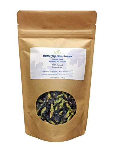 Butterfly Pea Flower | Dried 100% Organic | Premium Blue Tea | Caffeine-free Anti-oxidant | Hand-Harvested Dried Butterfly Pea Flowers Whole 1.25 oz (35g)