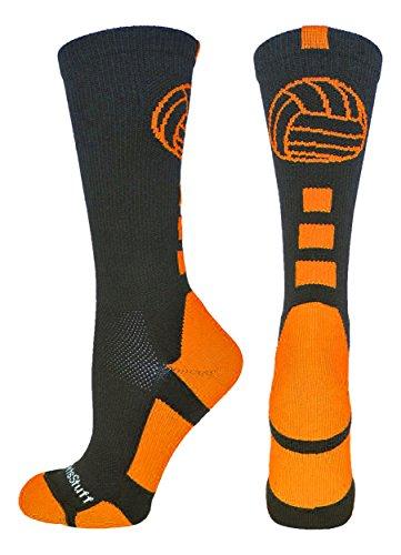 MadSportsStuff Volleyball Logo Crew Socks (Black/Orange, Medium)