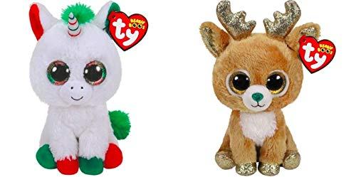 TY Glitzy Reindeer & Candy Cane Unicorn 2 PC Holiday Set (2018)