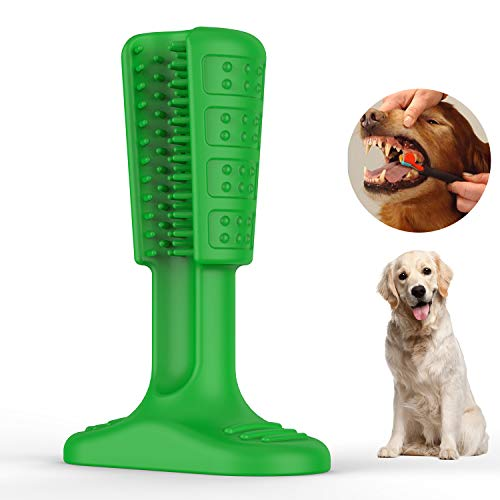 Wisedom Dog Toothbrush Stick-Puppy Dental Care Brushing Stick Effective Doggy Teeth Cleaning Massager Nontoxic Natural Rubber Bite Resistant Chew Toys Dogs Pets (Green-Small)