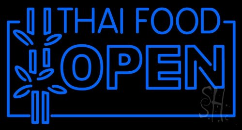 Thai Food Open Clear Backing Neon Sign 20'' Tall x 37'' Wide by The Sign Store