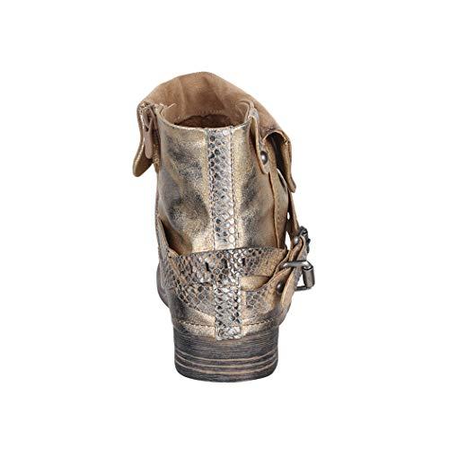 De Remaches Elara Biker Mujer Forrado Metallic Prints Boots Piel Botines Aspecto Dorado Hebillas x0ZUxqw