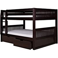 Full Over Full Low Bunk Bed with Drawers in Cappuccino Finish