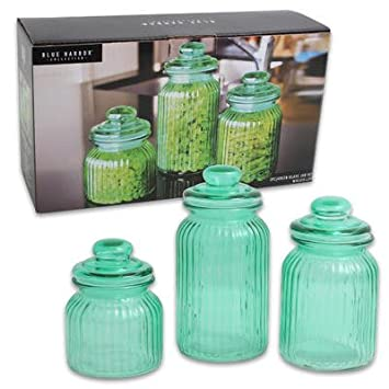 large glass food storage containers and canisters set of 3 green jars 45 oz