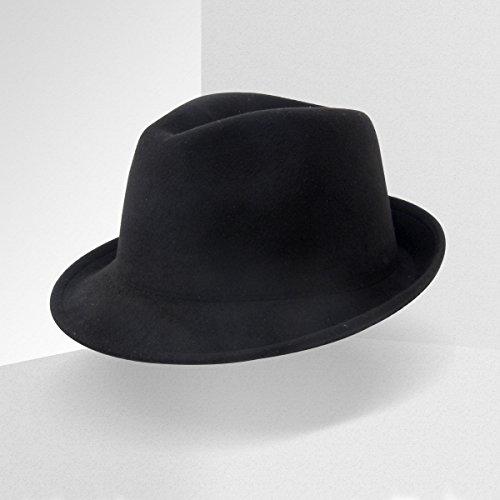 DoubleZhou Unisex Manhattan Fedora Hat Classic Trilby Short Brim Structured Gangster (Fedora Prices)