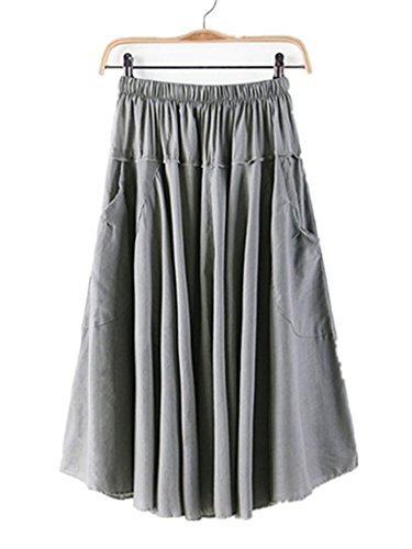 Azue Women's Street Casual Pleated Half Dress A-Line Slimming Calf Length Midi Skirt with Pockets Grey Petit Am I Christmas