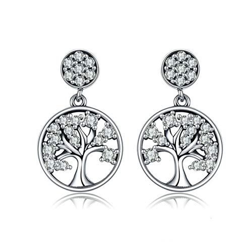 Eternalll Jewellery Cherry Blossom Charm Pandora Stud Earrings Sterling Silver with Swarovski Blue Crystal Enamel & Pink Flower Charm for Women Girls Fashion Fine Jewelry (Tree of Life Earrings)