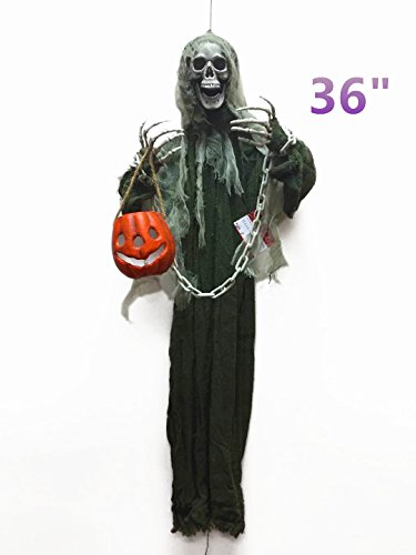 Outside Halloween Ideas (Halloween Hanging Ghost With Lantern Haunted House Decoration - Great for Haunted Houses, Home Decor, Lawn Decor and Backyard Parties -36