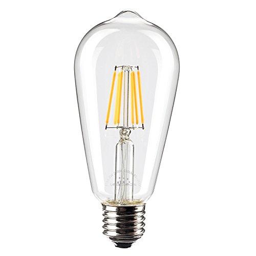 Leadleds 6W Edison Style Vintage LED Filament Light Bulb, 2700k Soft White 610LM Non-dimmable, E27 Medium Base Bulb, ST21(ST64) Antique Shape, 60W Incandescent (Pendant 1 Light 60w Fan)