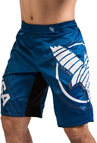 Hayabusa Chikara 4 Fight Shorts for Men Blue XXL MMA Combat Sports Kickboxing Jiu Jitsu BJJ