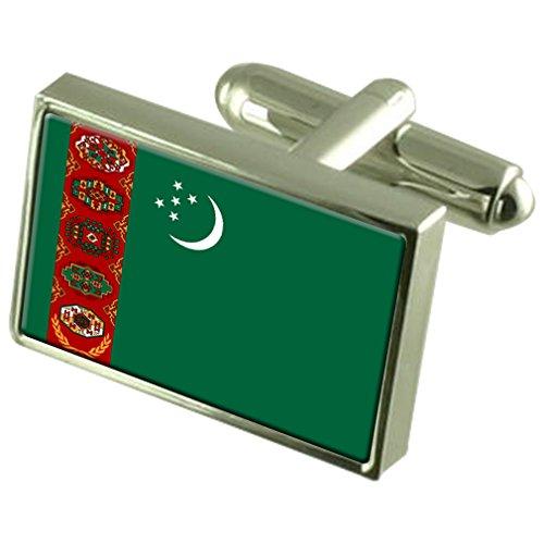 Le Turkménistan Drapeau en Argent Sterling gravé en manchette boîte personnalisée