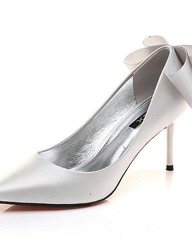 ZQ Zapatos de mujer-Tac¨®n Stiletto-Tacones-Tacones-Oficina y Trabajo / Fiesta y Noche / Casual-Sint¨¦tico-Negro / Plata , silver-us8 / eu39 / uk6 / cn39 , silver-us8 / eu39 / uk6 / cn39 silver-us8 / eu39 / uk6 / cn39