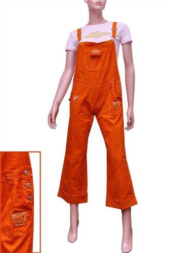 new specials brand new cheap London Designer Ladies Womens Orange 3/4 Capri Dungarees ...
