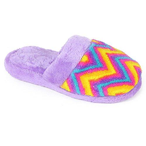 Chatties Girls Printed Plush Slipper (2-3 M US Big Kid, Purple Zig Zag)