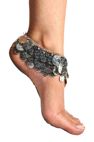 Pearl Belly Dance Exotic Fashion 3 Row Coin Anklet - SILVER (1pc) (Trading Company Costume Jewelry)