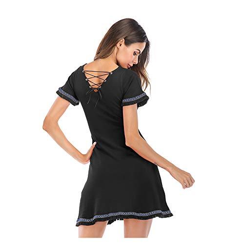 Cintura Corbata del la Color en Black Size Viento Micro Nacional Puro Corta Isbxn Manga con Vestido V Black de Cuello Mujeres de M con ZdHxwpaq