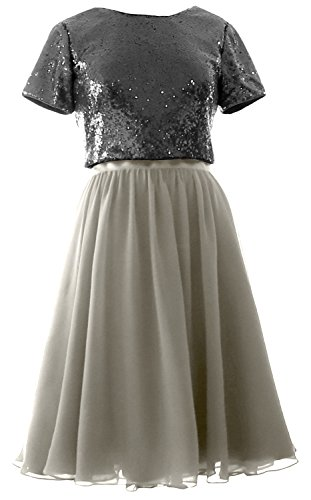 MACloth Cap Sleeves Two Piece Short Bridesmaid Dress Sequin Chiffon Formal Gown Black-Silver