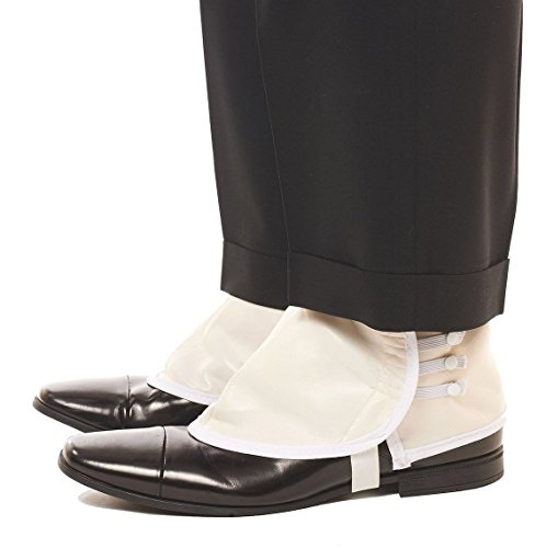 Mens WHITE/ALMOND Deluxe Vinyl Costume Spats -(Shoes not (Gangster Shoe)