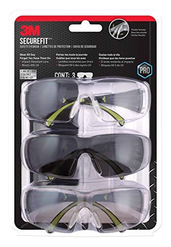 3M SF400-W-3PK-PS Secure-Fit 400 Anti-Fog Eye Protection Glasses, Multi-Pack (3 Pack) (Renewed)