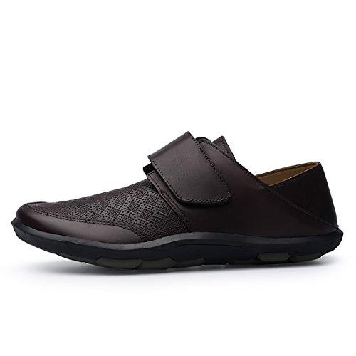 Minishion Garçons Mens Vérifié Concepteur Chaussures De Marche Avec Velcro Marron