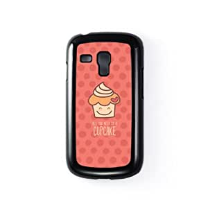 Cute Cupcake on Pink Polka Dots Black Hard Plastic Case Snap-On Protective Back Cover for Samsung® Galaxy S3 Mini by UltraCases + FREE Crystal Clear Screen Protector