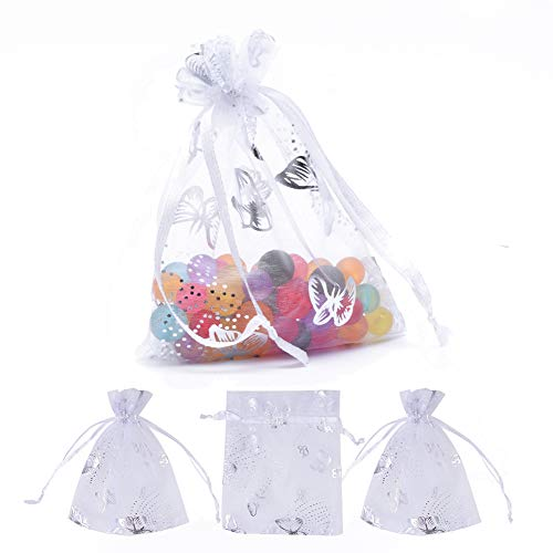 PH PandaHall 100 PCS 4 x 4.7 Inches Silver Butterfly Printed Bags Jewelry Pouch Bags Organza Velvet Drawstring Pouches Wedding Favors Candy Bags, White