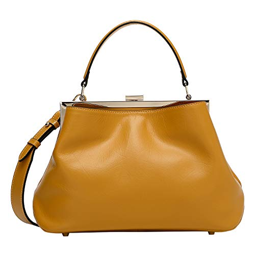 Pifuren Women's Genuine Leather Tote Bag Top Handle Cross Body Handbags (S42 Yellow) ()