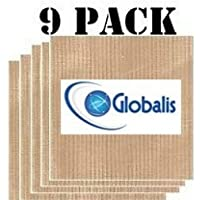 "Globalis- Superior 9 Pack Super Non-stick Dupont Teflon Re-usable Food Dehydrator Sheets for Excalibur 2500 2900 3500 3900 or 3926t. Sheet Measures 14"" X 14"" Fits Excalibur 5 and 9 Trays."