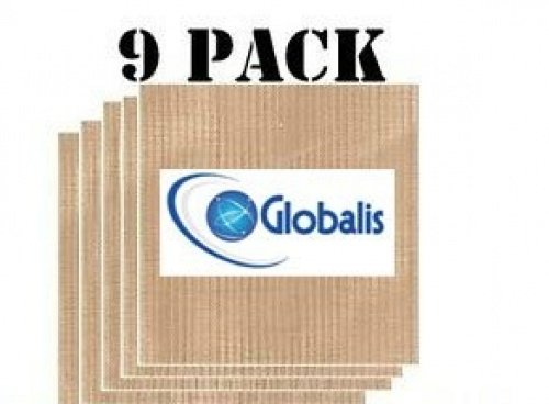 """Globalis- Superior 9 Pack Super Non-stick, Dupont Teflon Re-usable Food Dehydrator Sheets for Excalibur 2500, 2900, 3500, 3900 or 3926t. Sheet Measures 14"""" X 14"""" Fits Excalibur 5 and 9 Trays."""