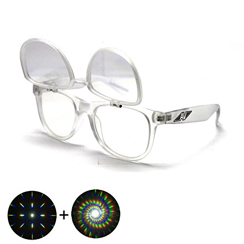 Flip Up Spiral Double Diffraction Glasses - Clear - Shades Trippy