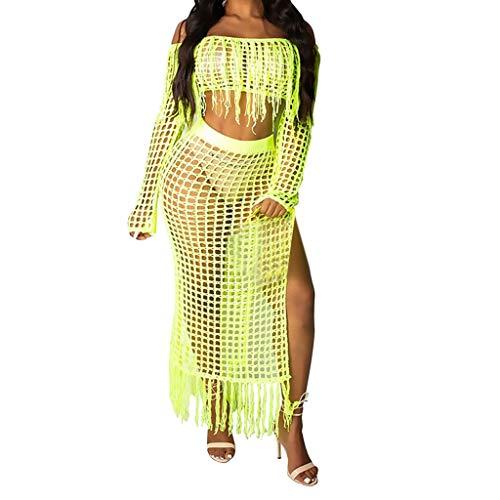 (Sunhusing Ladies Sexy Open Shoulder Openwork Mesh Tassel Long Sleeve Top + Mesh Split Beach Long Skirt Set Green)