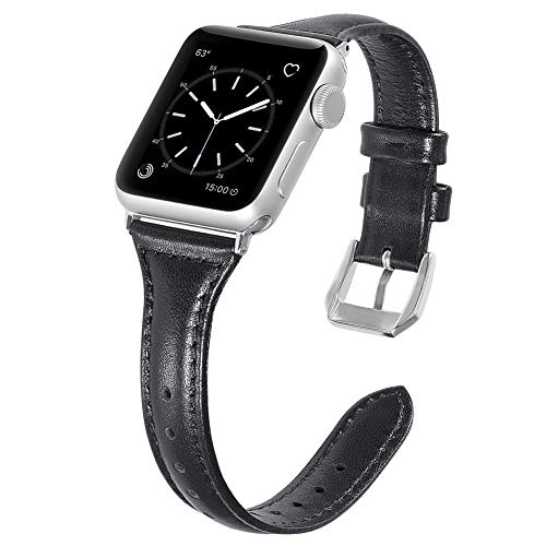 Karei Leather Bands for Apple Watch Band 42mm, Retro Top Grain Genuine Leather Replacement Strap with Stainless Steel Clasp for iWatch Series 3,Series 2,Series 1,Sport, Edition Black