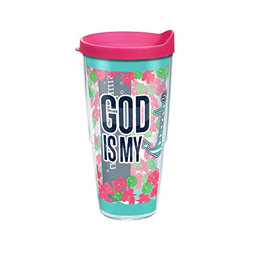 Tervis Simply Southern Faith Based Wrap Tumbler with Fuchsia Lid, 24 oz, Clear by Tervis