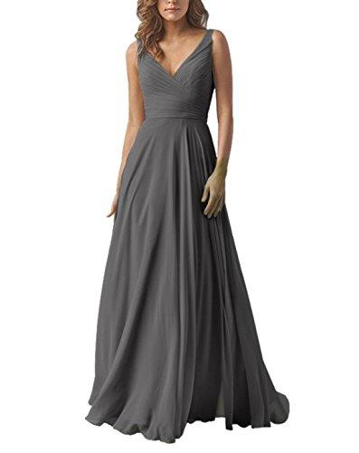 Yilis Double V Neck Elegant Long Bridesmaid Dress Chiffon Wedding Evening Dress Dark Grey US18 Chiffon V-neck Prom Dress