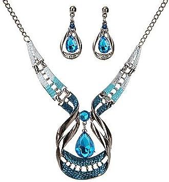 Hlzf Pendientes/Collar De La Joyería Cristalina De La Gota De Las Mujeres - Vintage/Declaración Azul Marino para La Fiesta/La Ceremonia,Blue