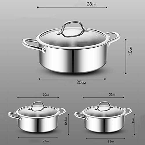 NBVCX Ustensiles de Cuisine Marmites Marmite 304 Pot en Acier Inoxydable épaissi 28cm / 30cm / 32cm Cuisinière à gaz Universelle Argent (Taille: 32cm * 11cm)