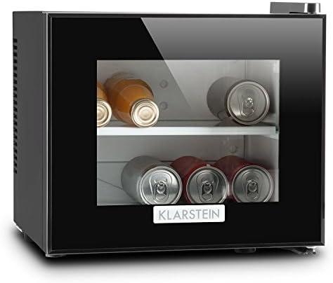 Klarstein Frosty Kühlschrank mit Glastür - Mini-Kühlschrank, Mini-Bar, 10 Liter, 33,4 x 30,3 x 31,5 cm, 1 x Regaleinschub, regelbare Temperatur, Glas-Fensterfront, LED, schwarz