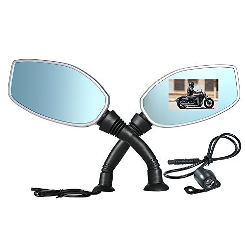 KKmoon 2.4 Inch Motorcycle Rearview Mirror Twin Camera Motorbike Dash Cam Video Camcorder