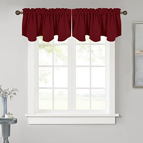 NICETOWN Blackout Scalloped Valance Drape - 52-inch x 18-inch Rod Pocket Valance Curtain Panel for Kitchen Decor on Christmas & Thanksgiving Day, Burgundy, Single Panel