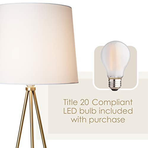Newhouse Lighting NHFL-AL-GO Alexandria Contemporary Tripod Floor White Lamp Shade & E26 Light Socket-Free LED Bulb Included, Gold