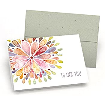 Amazon.com: Set of Thank You Note Cards - Watercolor Flower Burst ...