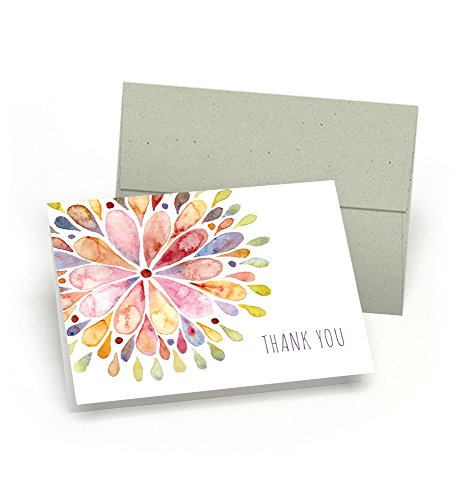 amazon com set of thank you note cards watercolor flower burst